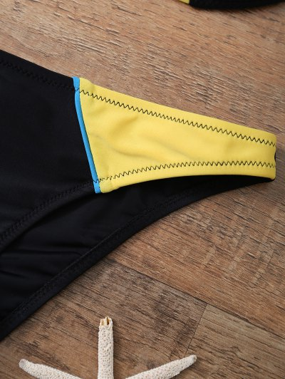 Color Block Halter Underwire Bikini Set - YELLOW AND BLACK M Mobile