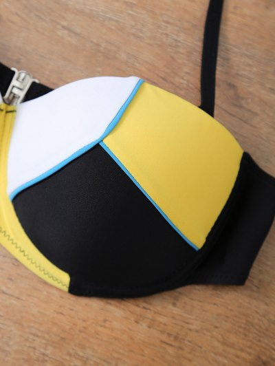 Color Block Halter Underwire Bikini Set - YELLOW AND BLACK S Mobile