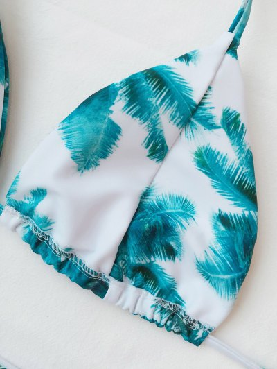 Palm Print Tie Side Thong Bikini - WHITE AND GREEN L Mobile