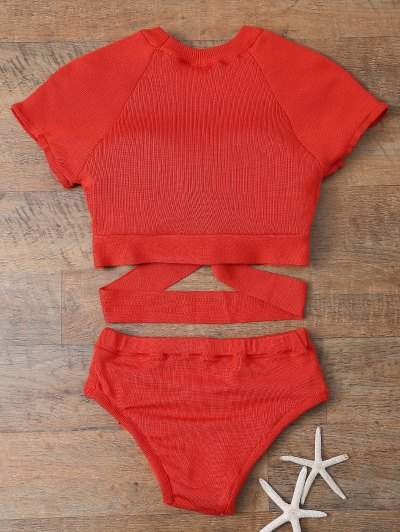 Banded High Neck Bikini - RED L Mobile