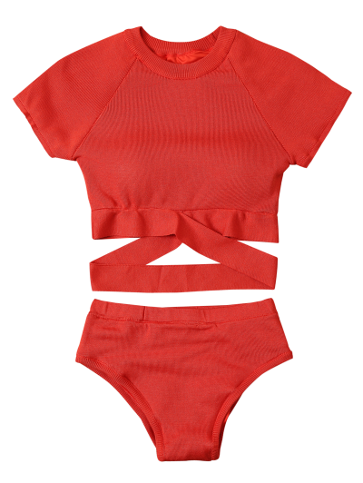 Banded High Neck Bikini - RED M Mobile