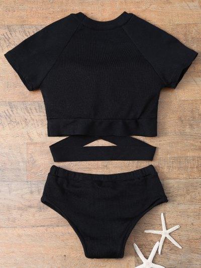 Banded High Neck Bikini - BLACK M Mobile