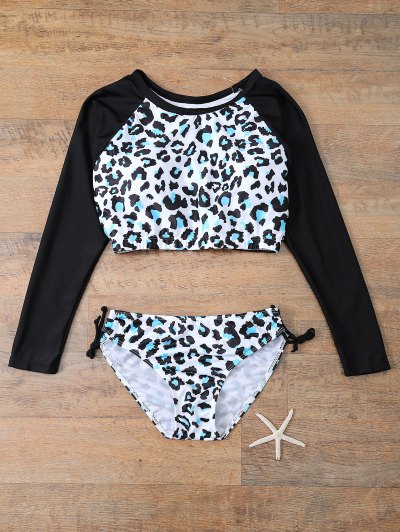 Leopard Print Long Sleeve Bathing Suit - LEOPARD XL Mobile