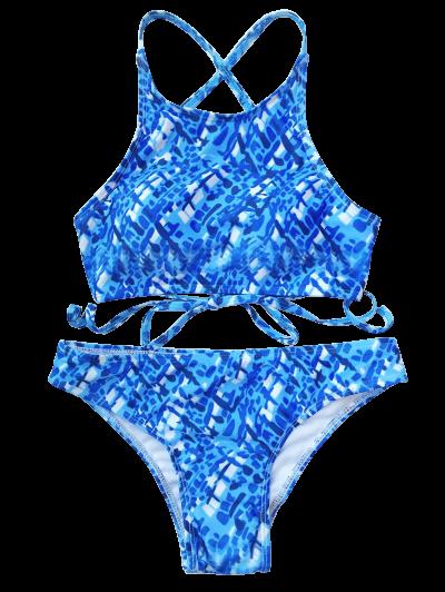 Crisscross Back High Neck Printed Bikini - BLUE AND WHITE L Mobile