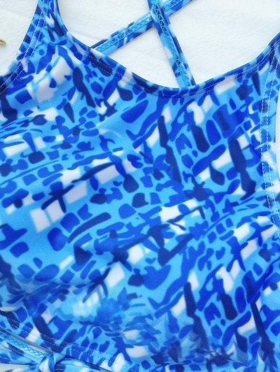 Crisscross Back High Neck Printed Bikini - BLUE AND WHITE M Mobile
