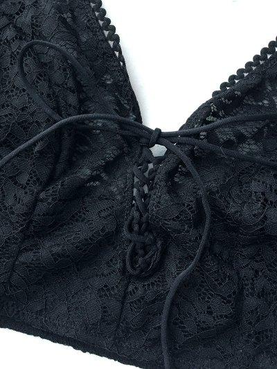 Lace Up Longline Bralette - BLACK XL Mobile