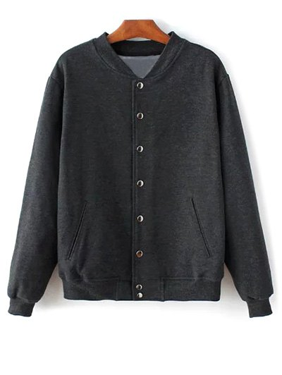 Button Up Baseball Jacket - DEEP GRAY M Mobile