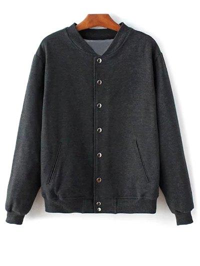 Button Up Baseball Jacket - DEEP GRAY XXS Mobile