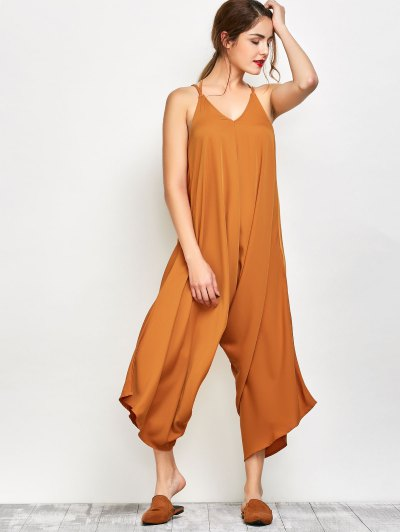 Crosscriss Asymmetric Chiffon Jumpsuit - GINGER XL Mobile