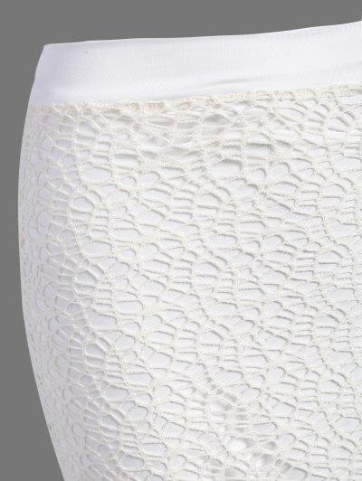 Long Lace Slit Skirt - WHITE XL Mobile