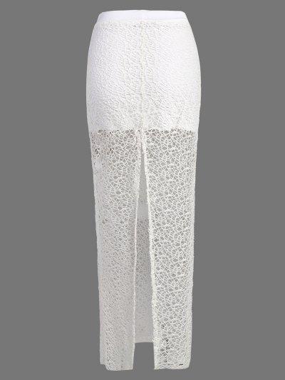 Long Lace Slit Skirt - WHITE L Mobile