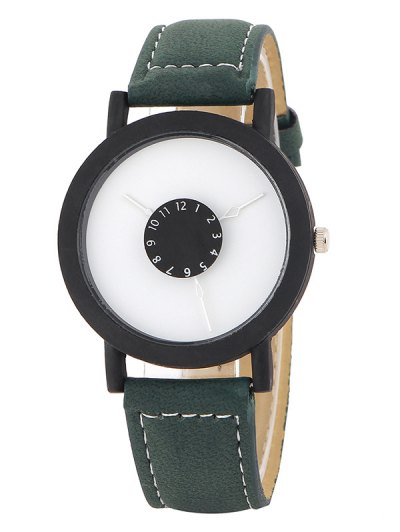 Faux Leather Band Analog Quartz Watch - GREEN  Mobile