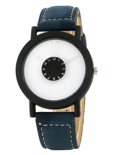Faux Leather Band Analog Quartz Watch - BLUE  Mobile