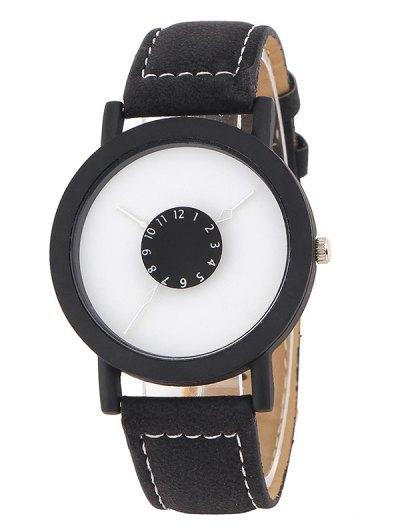 Faux Leather Band Analog Quartz Watch - BLACK  Mobile
