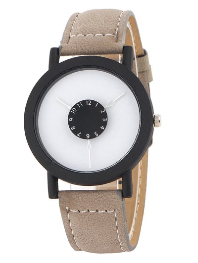 Faux Leather Band Analog Quartz Watch - KHAKI  Mobile