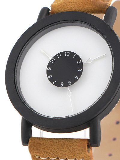 Faux Leather Band Analog Quartz Watch - BROWN  Mobile