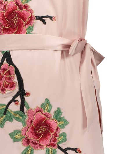Mini Floral Embroidered Slip Dress - SHALLOW PINK L Mobile