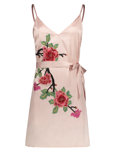 Mini Floral Embroidered Slip Dress - SHALLOW PINK M Mobile