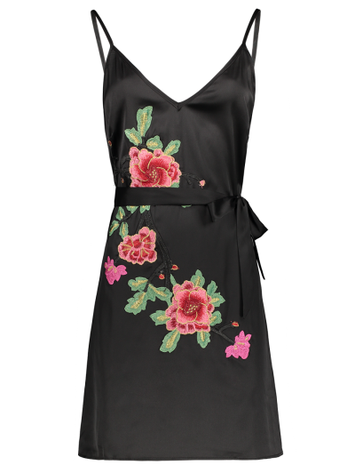 Mini Floral Embroidered Slip Dress - BLACK M Mobile