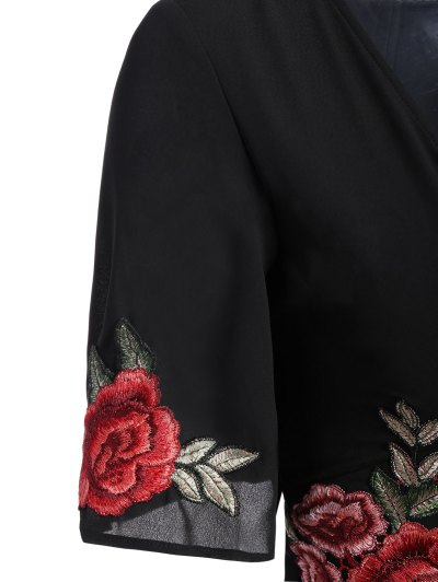 Fitting Floral Embroidered Romper - BLACK 2XL Mobile