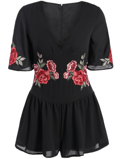 Fitting Floral Embroidered Romper - BLACK L Mobile