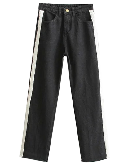 Side Stripe Frayed Hem Wide Leg Jeans - BLACK M Mobile