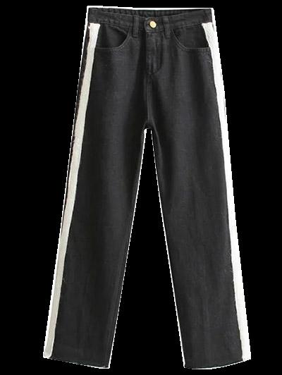 Side Stripe Frayed Hem Wide Leg Jeans - BLACK M Mobile