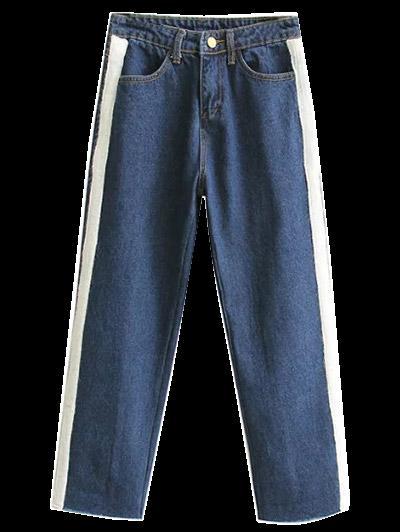 Wide Leg Applique Frayed Hem Jeans - DEEP BLUE XL Mobile