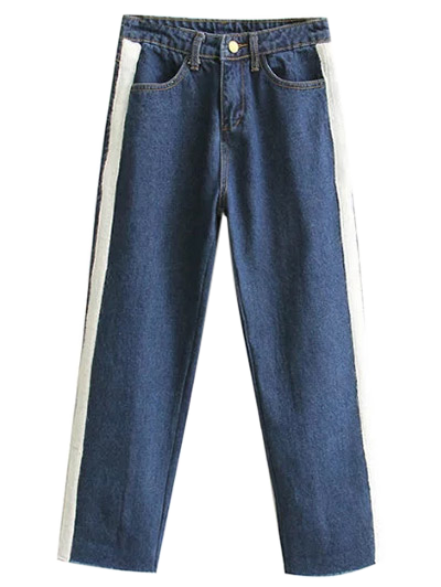 Wide Leg Applique Frayed Hem Jeans - DEEP BLUE L Mobile