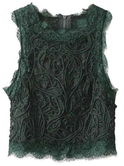 Frayed Lace Scalloped Cropped Tank Top - BLACKISH GREEN M Mobile