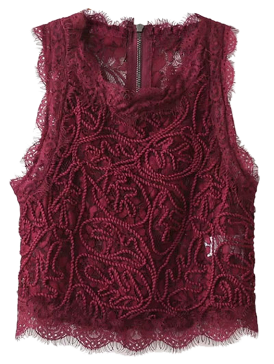 Frayed Lace Scalloped Cropped Tank Top - BURGUNDY S Mobile