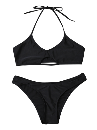 Casual Cutout Bikini Set - BLACK XL Mobile