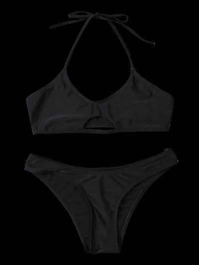 Casual Cutout Bikini Set - BLACK L Mobile