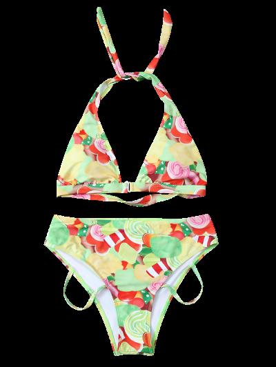Cutout Printed Bikini Set - YELLOW L Mobile