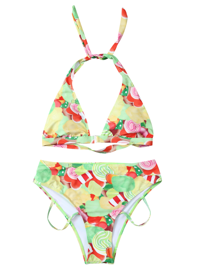 Cutout Printed Bikini Set - YELLOW M Mobile