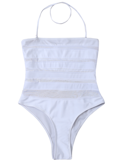 Halter One-Piece See Through Bathing Suit - WHITE XL Mobile