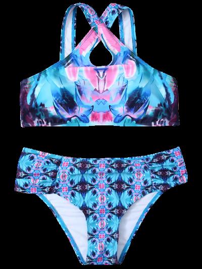 Printed Crossover Bikini Set - BLUE L Mobile