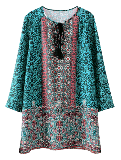 Printed Vintage Long Sleeve A-Line Dress - GREEN L Mobile