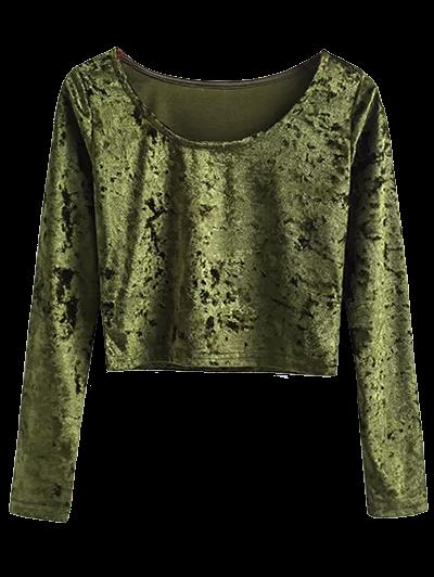 Scoop Neck Velvet Crop Top - ARMY GREEN S Mobile
