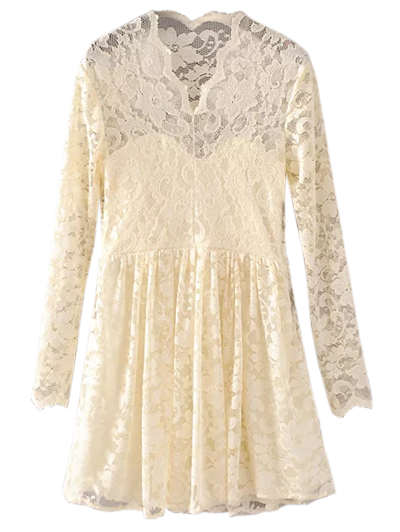 Lace V Neck Dress - PALOMINO M Mobile