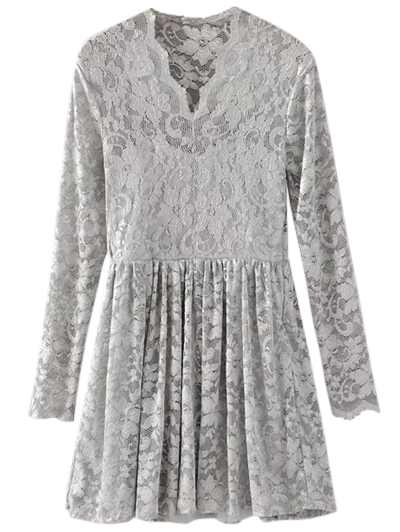 Lace V Neck Dress - GRAY L Mobile