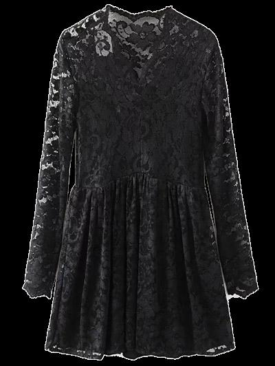 Lace V Neck Dress - BLACK M Mobile