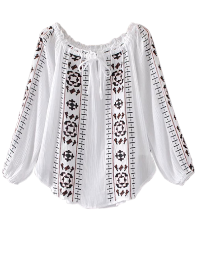 Embroidered Off Shoulder Blouse - WHITE S Mobile