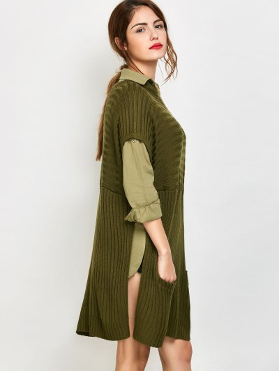 Side Slit Oversized Sweater With Pockets - ARMY GREEN L Mobile