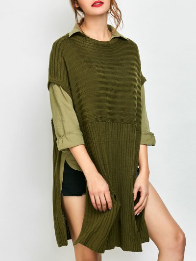 Side Slit Oversized Sweater With Pockets - ARMY GREEN S Mobile
