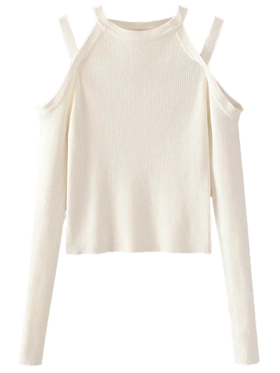 Banded Cold Shoulder Knitted Top - WHITE M Mobile