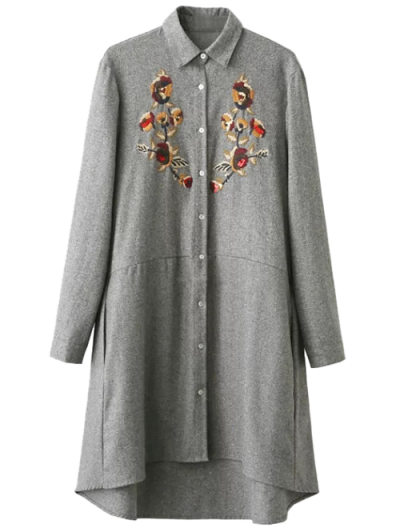 Embroidered Long Sleeve Tunic Shirt Dress - GRAY L Mobile
