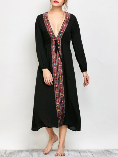Long Sleeve Belted Printed Maxi Dress - BLACK XL Mobile