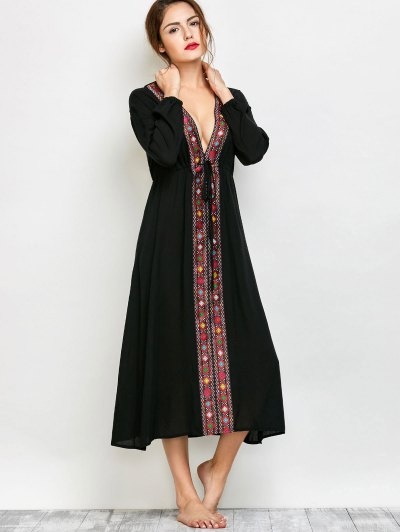Long Sleeve Belted Printed Maxi Dress - BLACK S Mobile