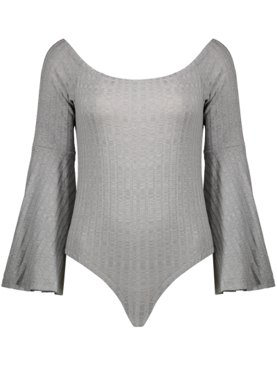 Off The Shoulder Flare Sleeve Bodysuit - GRAY S Mobile